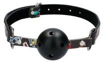 Черный кляп-шарик Breatheable Ball Gag Old School Tattoo Style, цвет черный - Shots Media
