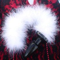 Анальная пробка Furry Tail с пушистым хвостом, цвет белый - Luxurious Tail