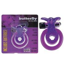 Кольцо эрекционное Butterfly подхватыванием мошонки, цвет фиолетовый - Seven Creations