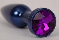 Анальная пробка металл 11,2х2,9см синяя с фиолетовым 47197-MM - Eroticon