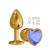 Анальная втулка Gold с синим кристаллом сердце маленькая, цвет золотой - МиФ
