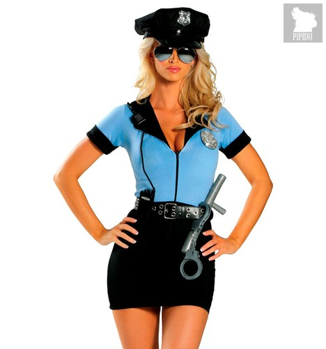 Костюм женщины-копа, цвет голубой/черный, S-M - Le Frivole