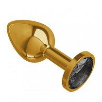 Золотистая анальная пробка с чёрным кристаллом - 7 см, цвет золотой/черный - МиФ