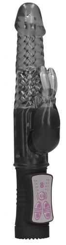 Черный вибратор-кролик Rotating Rabbit - 23 см., цвет черный - Shots Media