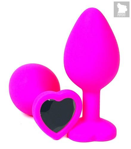 Розовая силиконовая пробка с черным кристаллом-сердцем - 10,5 см., цвет черный - Vandersex